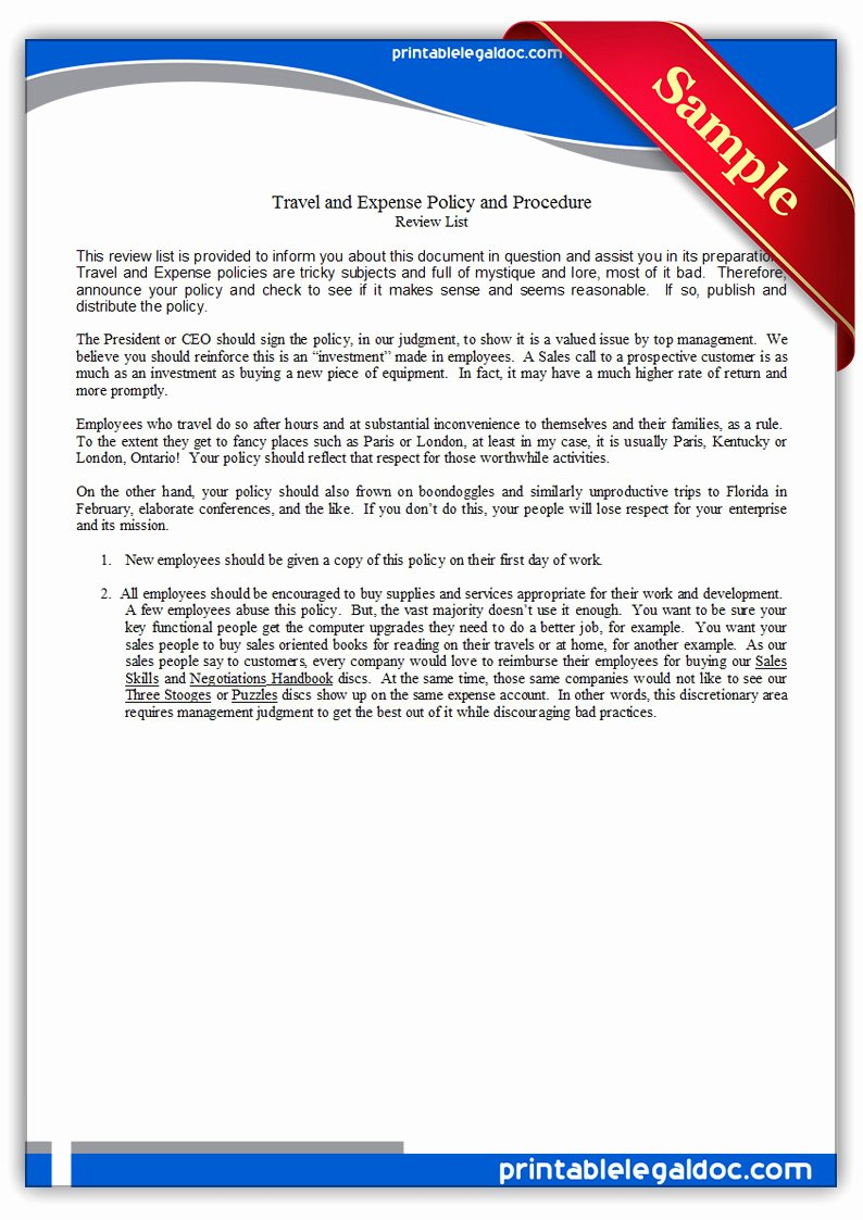Travel Policies and Procedures Template Inspirational Free Printable Travel and Expense Policy and Procedure