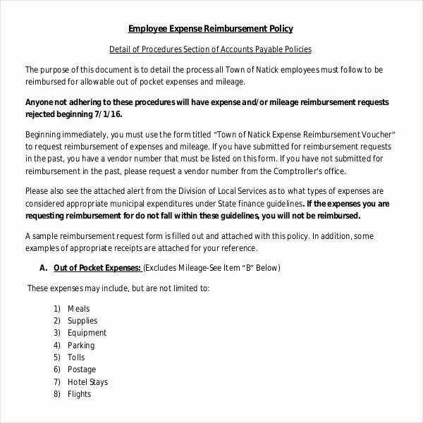Travel Policies and Procedures Template Luxury 4 Employee Reimbursement Policy Templates Pdf