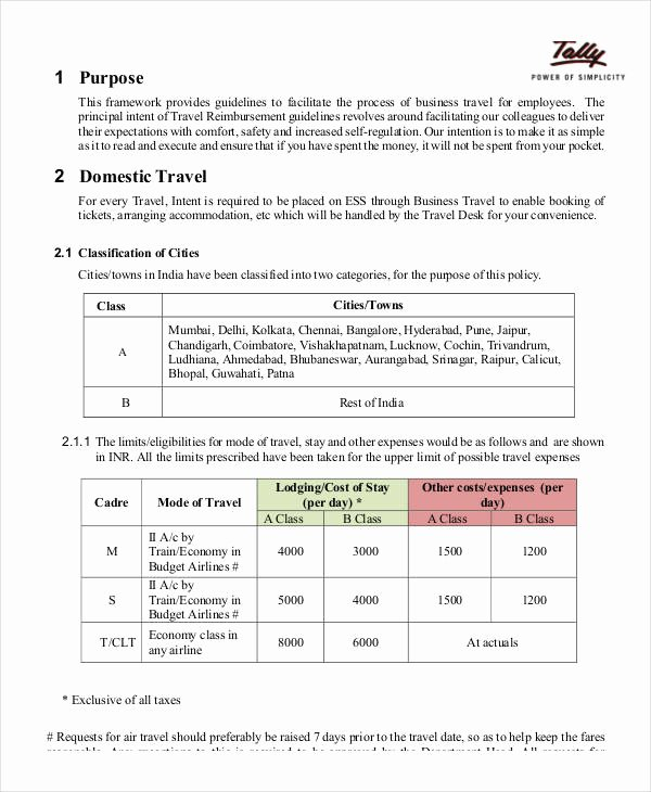 Travel Policies and Procedures Template Luxury Business Policy Template 9 Free Pdf Documents Download