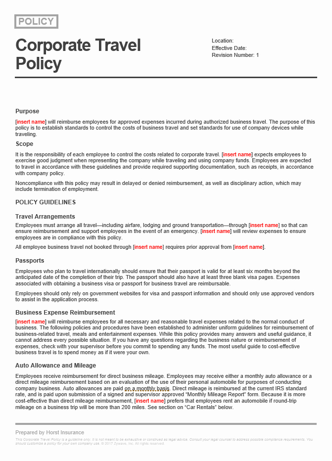 Travel Policies and Procedures Template Luxury Corporate Travel Policy Sample