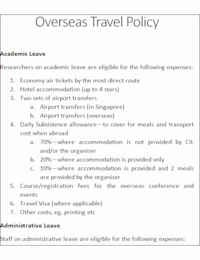 Travel Policies and Procedures Template New 10 Travel Policy Templates Google Docs Word Pages
