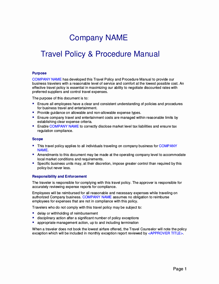 Travel Policies and Procedures Template Unique Free 22 Travel Policy Examples In Pdf