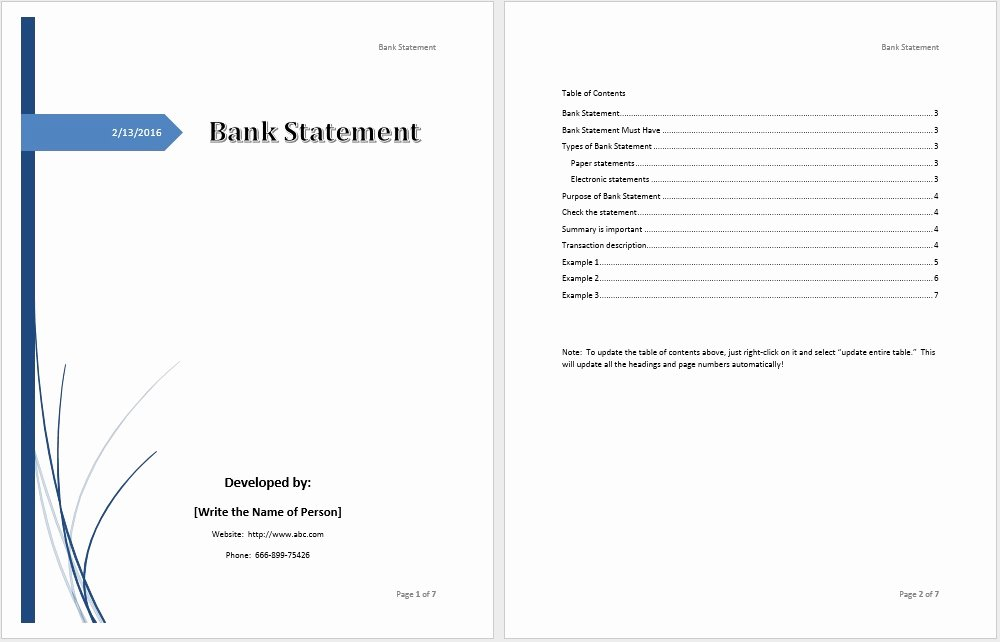 Us Bank Statement Template Best Of Bank Statement Template – Word Templates for Free Download