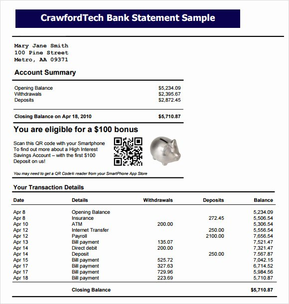 Us Bank Statement Template Lovely Free 9 Bank Statement Templates In Free Samples Examples
