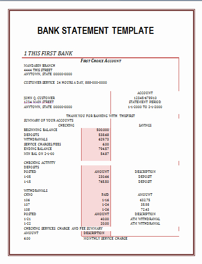 Us Bank Statement Template New Bank Statement Template