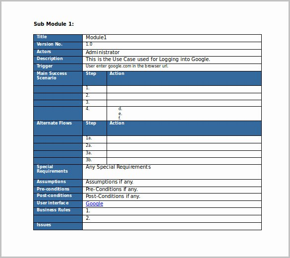 Use Case Template Word Elegant Test Case Template 22 Free Word Excel Pdf Documents
