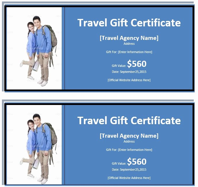 Vacation Gift Certificate Template Awesome 7 Free Sample Travel Gift Certificate Templates