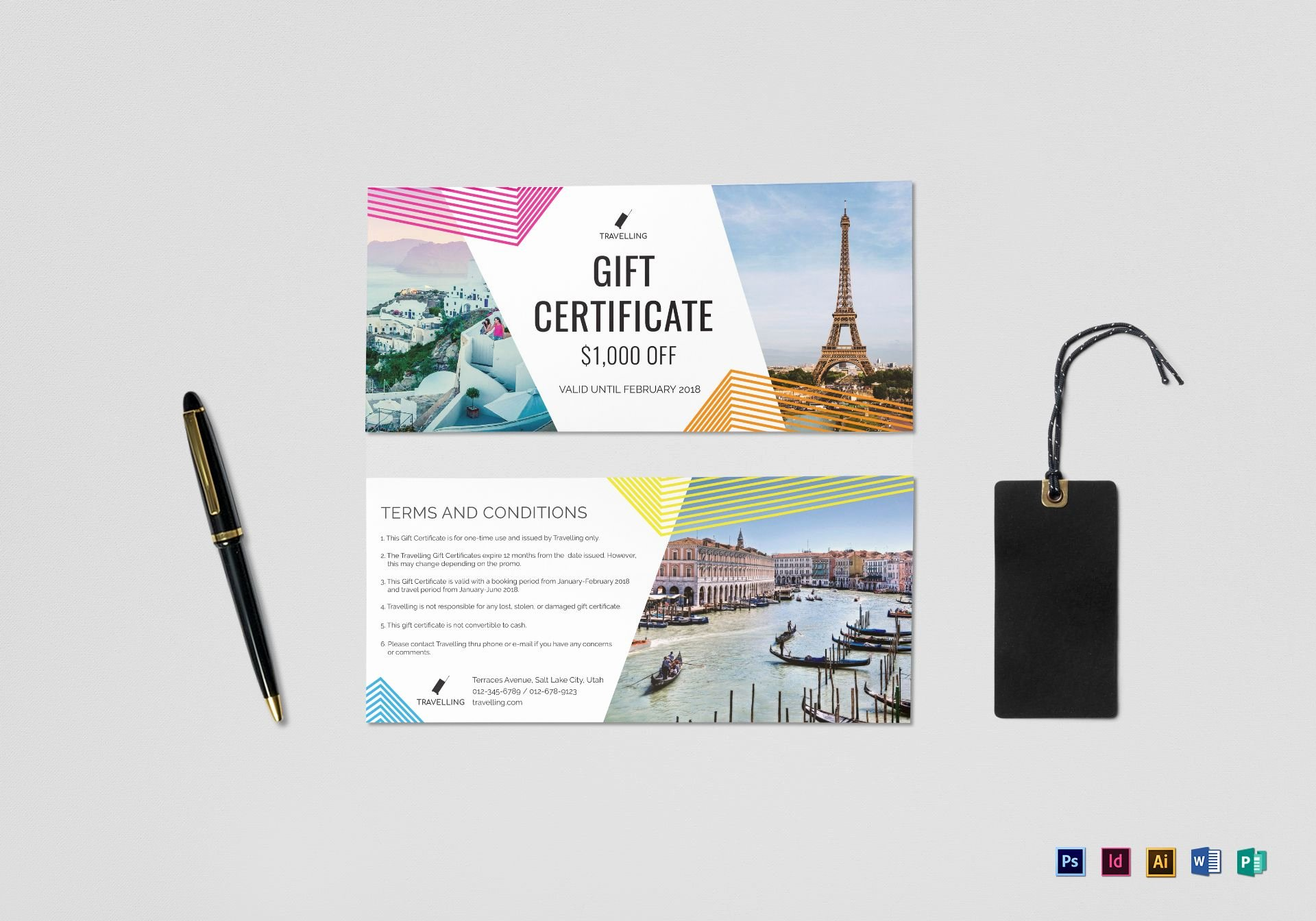 Vacation Gift Certificate Template Beautiful Travel Gift Certificate Design Template In Psd Word