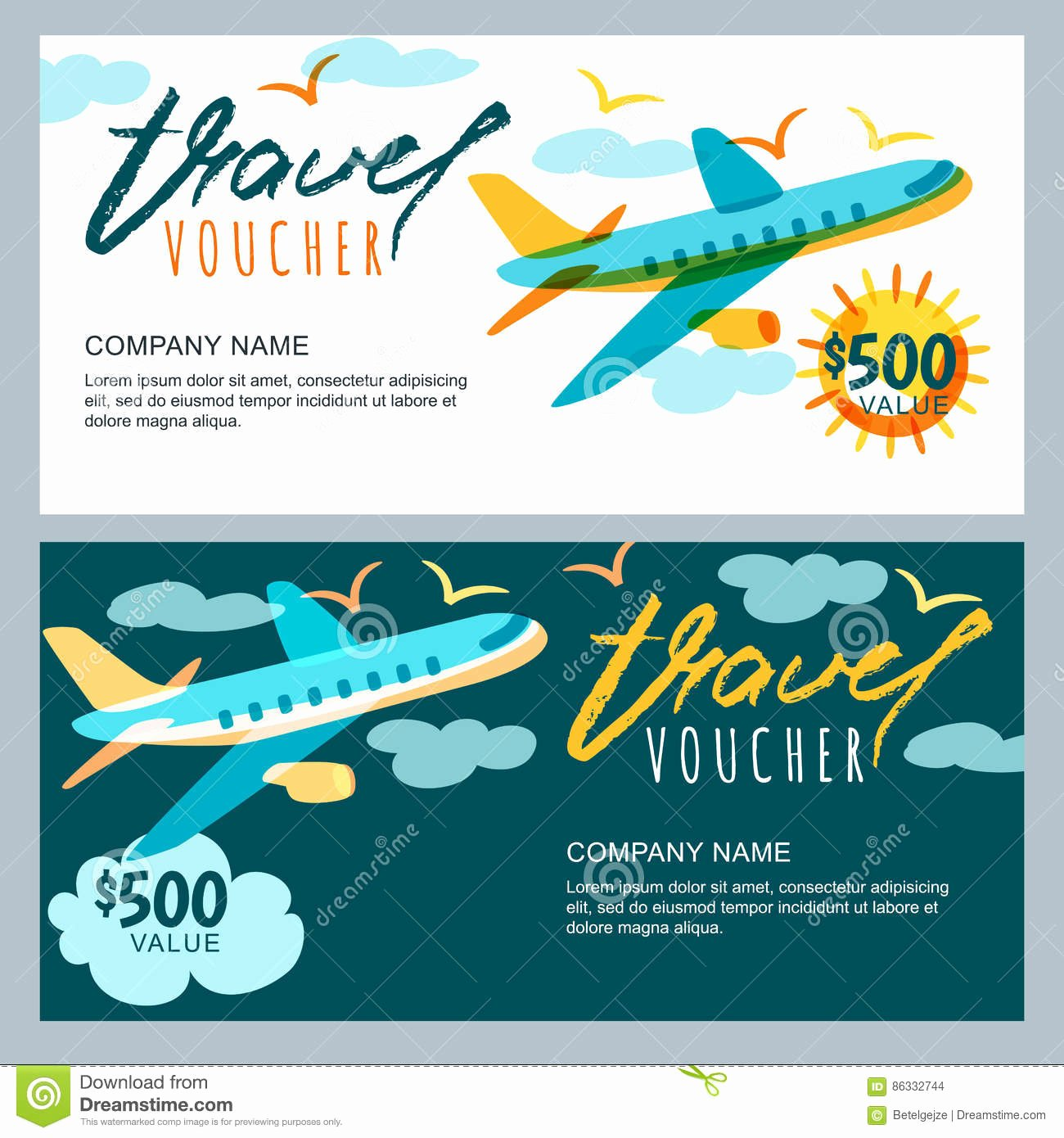 Vacation Gift Certificate Template Best Of Vector Gift Travel Voucher Multicolor Airplane In the Sky