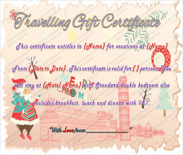 Vacation Gift Certificate Template Elegant 9 Travel Gift Certificate Templates Doc Pdf Psd