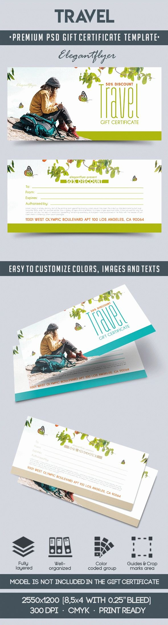Vacation Gift Certificate Template Elegant Travel Gift Voucher Template In Psd – by Elegantflyer