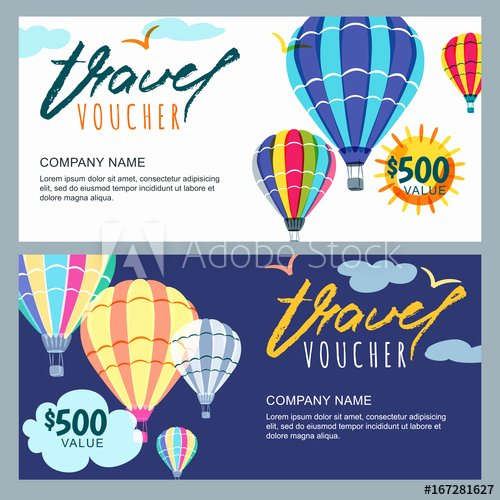 Vacation Gift Certificate Template Elegant Vector T Travel Voucher Template Multicolor Hot Air