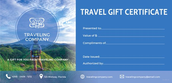 Vacation Gift Certificate Template Luxury Travel Certificate Template 9 Free Pdf Documents