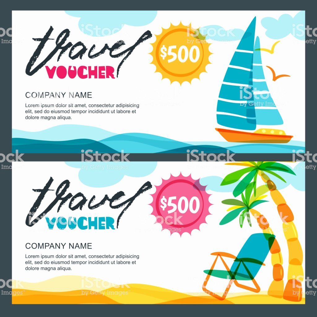 Vacation Gift Certificate Template Luxury Vector Gift Travel Voucher Template Concept for Summer