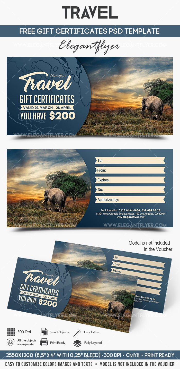 Vacation Gift Certificate Template New Travel – Free Gift Certificate Psd Template – by Elegantflyer