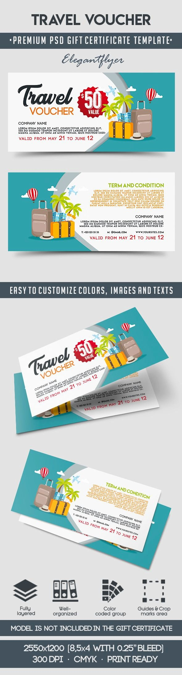Vacation Gift Certificate Template New Travel Voucher Template – by Elegantflyer