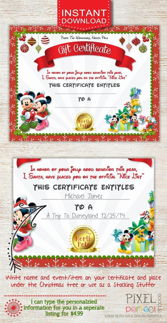 Vacation Gift Certificate Template Unique Christmas Gift Certificate Disney Trip Gift Certificate