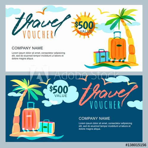 Vacation Gift Certificate Template Unique Vector T Travel Voucher Template Tropical island