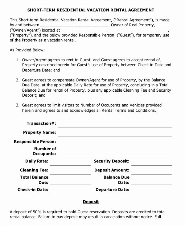 Vacation Rental Agreements Template Awesome 10 Vacation Rental Agreement – Free Sample Example