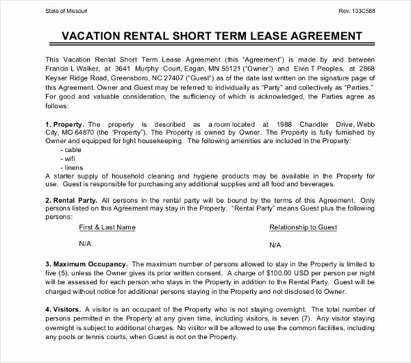 Vacation Rental Agreements Template Beautiful 17 Short Term Rental Agreement Templates Pdf Doc
