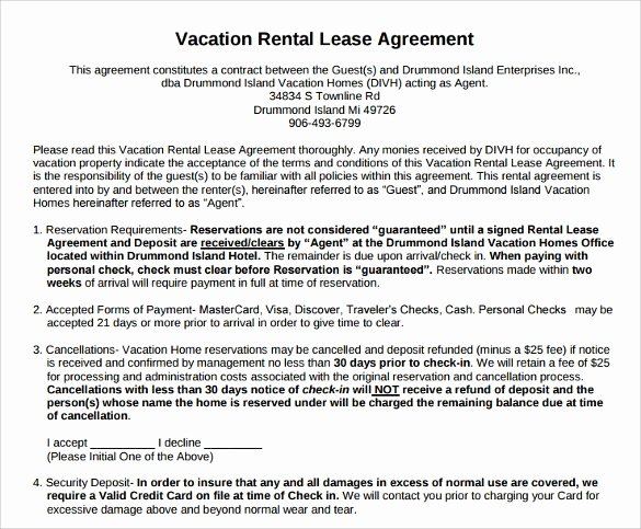 Vacation Rental Agreements Template Beautiful 8 Vacation Rental Agreement Samples Examples Templates