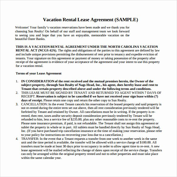 Vacation Rental Agreements Template Beautiful 8 Vacation Rental Agreements Free Sample Example format