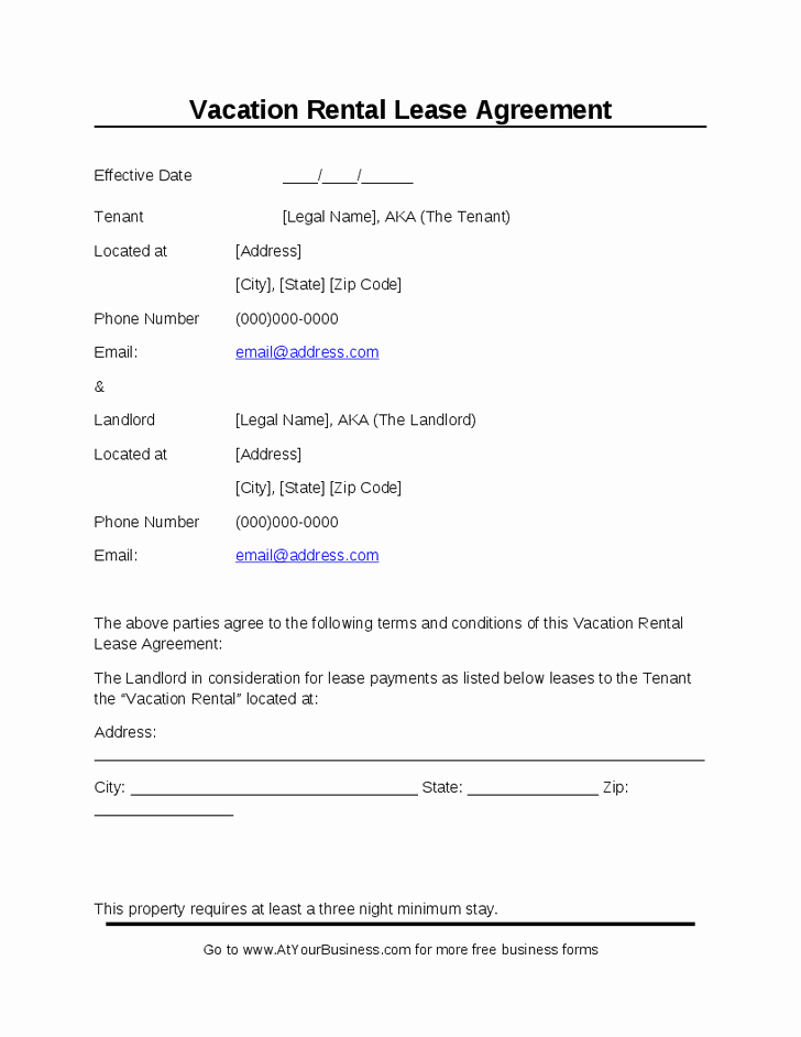 Vacation Rental Agreements Template Beautiful Vacation Rental Agreement