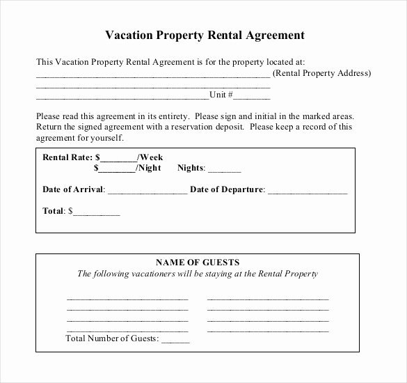 Vacation Rental Agreements Template Elegant Rental Agreement Template – 21 Free Word Pdf Documents