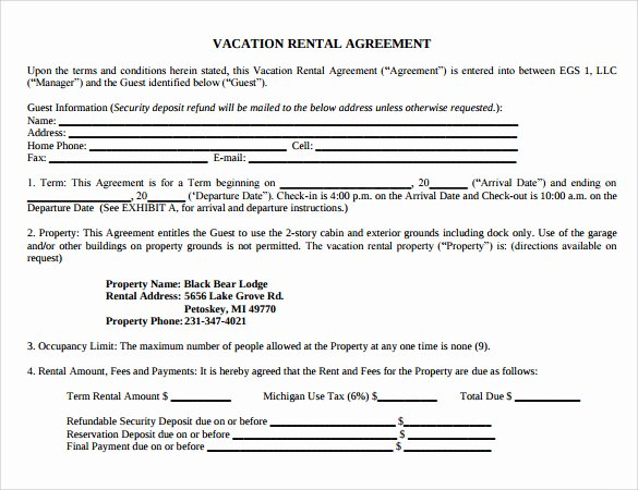 Vacation Rental Agreements Template Elegant Sample Vacation Rental Agreement 7 Free Documents In