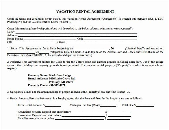 Vacation Rental Agreements Template Elegant Sample Vacation Rental Agreement 7 Free Documents In