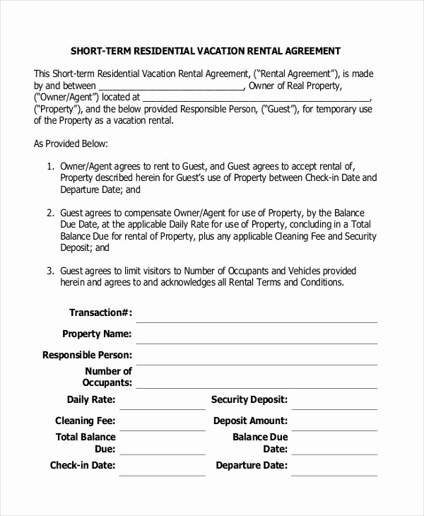 Vacation Rental Agreements Template Elegant Short Term Rental Agreement 12 Free Word Pdf Documents