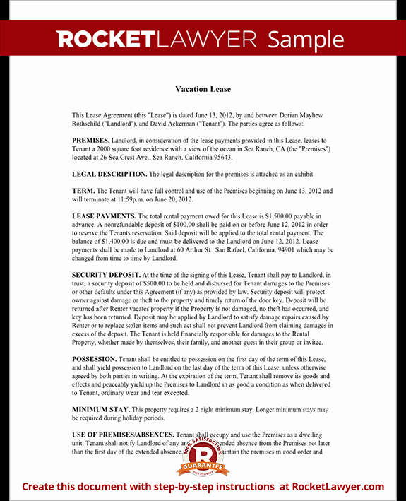 Vacation Rental Agreements Template Fresh Short Term Rental Lease Vacation Lease Agreement Template