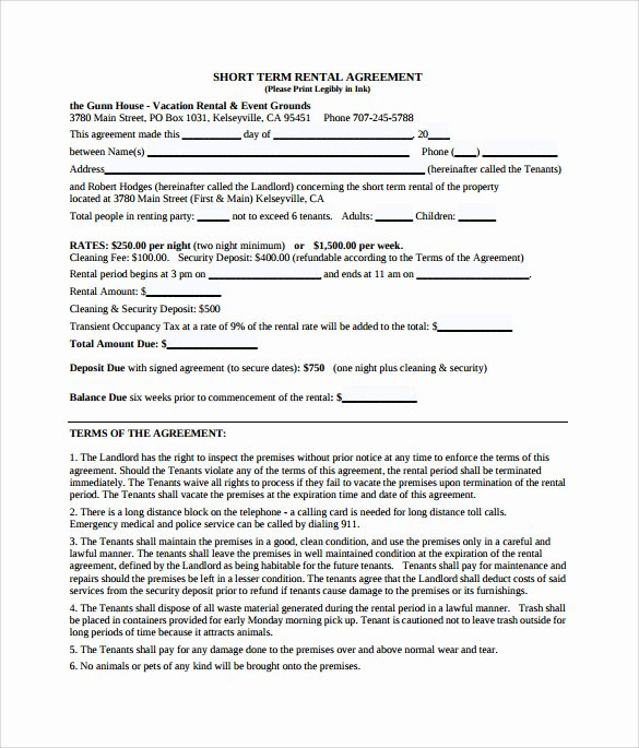 Vacation Rental Agreements Template Inspirational 9 Sample Vacation Rental Agreements