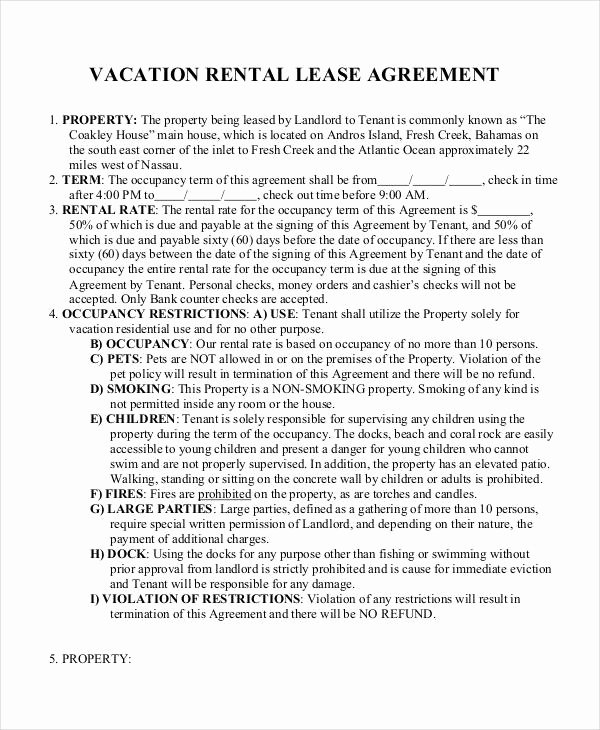 Vacation Rental Agreements Template Inspirational Free 60 Lease Agreement form In Template