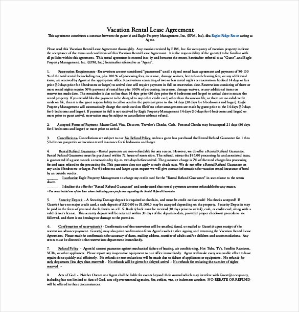 Vacation Rental Agreements Template New 16 Lease Agreement Templates – Word Pdf Pages