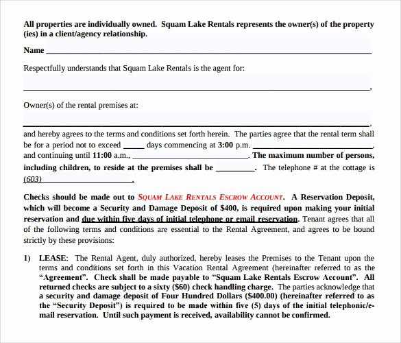 Vacation Rental Agreements Template New 8 Sample Vacation Rental Agreements Pdf Word