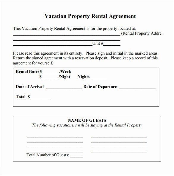 Vacation Rental Agreements Template New Simple Rental Agreement 11 Download Free Documents In