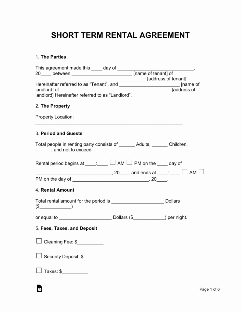 Vacation Rental Agreements Template Unique Free Rental Lease Agreement Templates Residential