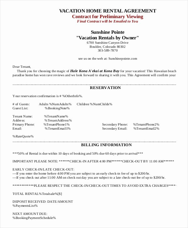Vacation Rental Agreements Template Unique House Rental Agreement 11 Word Pdf Documents Download
