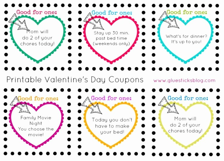 Valentine Day Coupon Template Beautiful Printable Valentine's Day Coupons for Kids Printed or