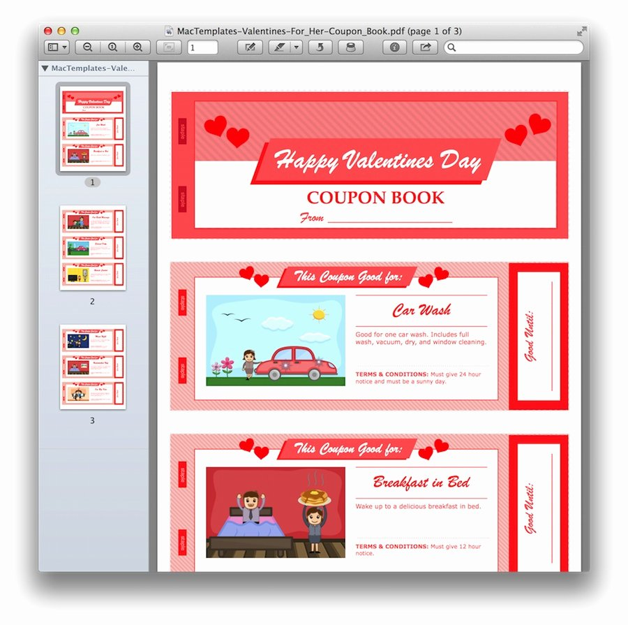 Valentine Day Coupon Template Inspirational Valentine S Day Coupon Book for Pages & Pdf Mactemplates