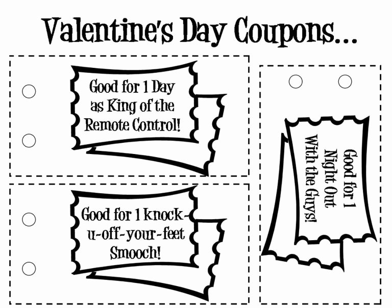 Valentine Day Coupon Template New Free Printable Love Coupons and Coupon Templates