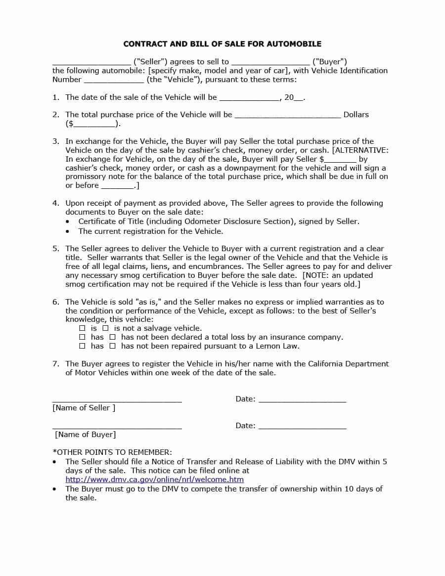 Vehicle Purchase Agreement Template Awesome 42 Printable Vehicle Purchase Agreement Templates