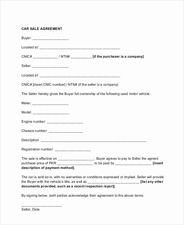 Vehicle Purchase Agreement Template Best Of Sample Vehicle Sales Contract 11 Examples In Word Pdf
