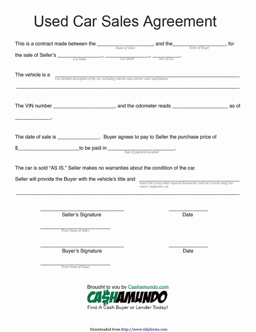 Vehicle Purchase Agreement Template Fresh 42 Printable Vehicle Purchase Agreement Templates