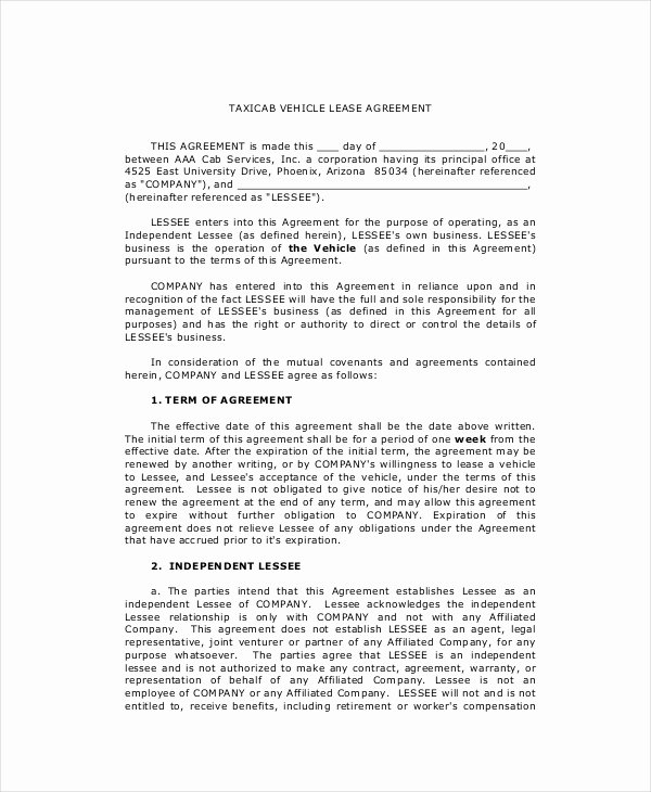 Vehicle Purchase Agreement Template New 9 Lease Purchase Agreement Word Pdf Google Docs