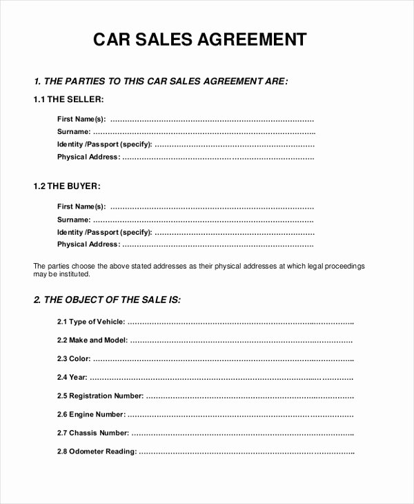 Vehicle Purchase Agreement Template Unique Sample Sales Agreement form 10 Free Documents In Pdf Doc