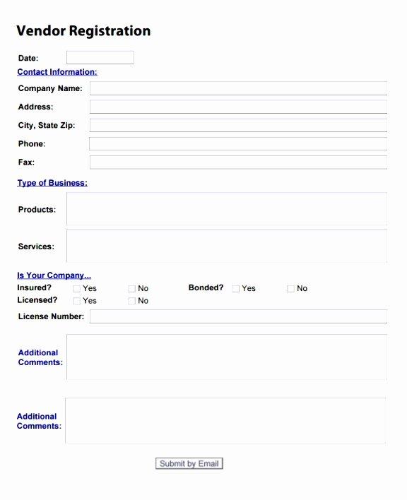 Vendor Registration form Template Awesome 10 New Vendor form Template Yruat