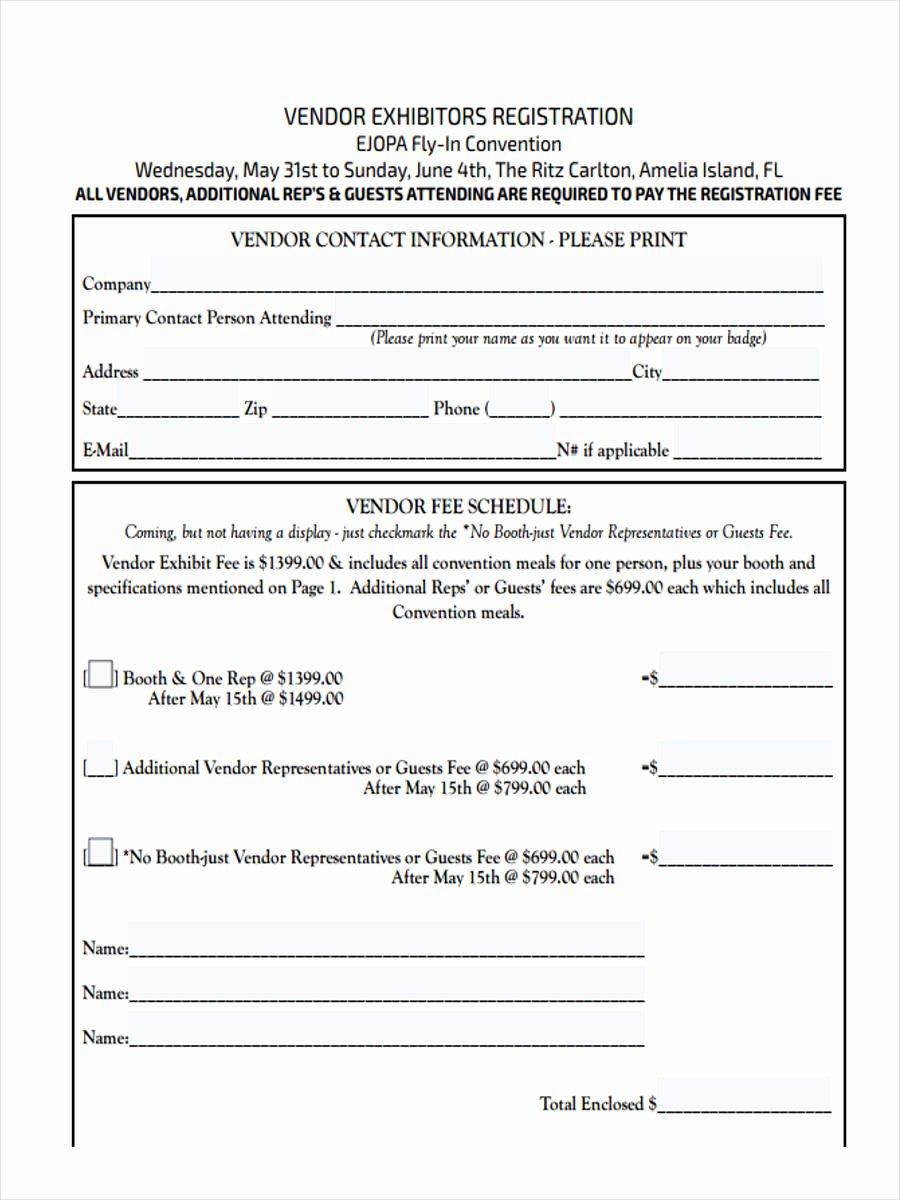 Vendor Registration form Template Beautiful Free 21 Hotel Registration form Templates
