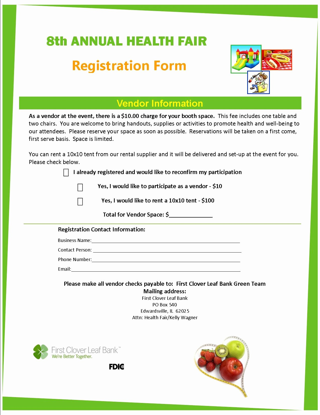 Vendor Registration form Template Fresh First Clover Leaf Bank